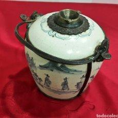 Antigüedades: ANTIGUA PIPA DE OPIO CHINA O VIETNAM DE PORCELANA Y METAL. Lote 107789783