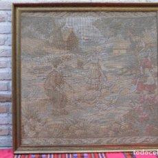 Antigüedades: TAPIZ ANTIGUO HOLANDES - ESCENA TIPICA - ENMARCADO.. Lote 107794711