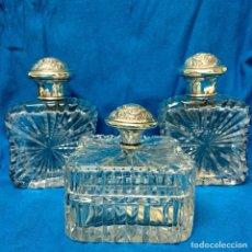 Antigüedades: JUEGO TOCADOR PLATA LEY CRISTAL TALLADO 3 PIEZAS. Lote 107803954