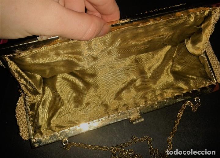 Antigüedades: Bolso de mano dorado diseño art deco años 40-50, antiguo s XX - Foto 5 - 107851895