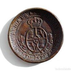 Antigüedades: PRECIOSO PLATITO DECORATIVO EN BRONCE CON ESCUDO DE ESPAÑA - REINA DE LAS ESPAÑAS 7,3 CM DE DIÁMETRO. Lote 107857547