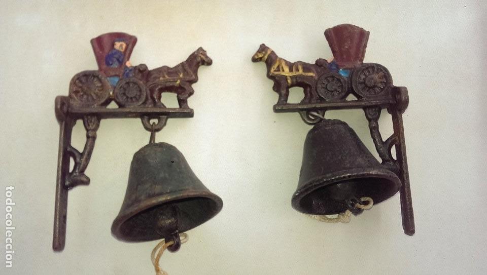 Antigüedades: campana llamador caballo hierro forja - Foto 2 - 107869203