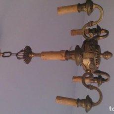 Antigüedades: LAMPARA DE BRONCE DE 5 LUCES. Lote 107877527