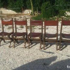 Antigüedades: 6 SILLAS FRAILERO CATALAN SIGLO XVIII. MADERA Y CUERO.. Lote 107919671