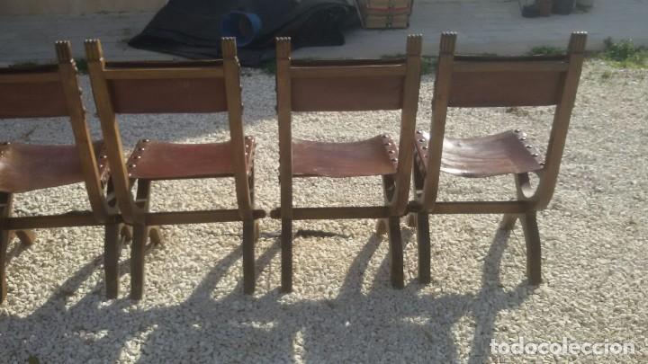 Antigüedades: 6 sillas frailero catalan siglo xviii. madera y cuero. - Foto 2 - 107919671