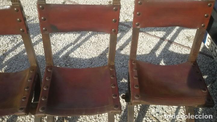 Antigüedades: 6 sillas frailero catalan siglo xviii. madera y cuero. - Foto 6 - 107919671