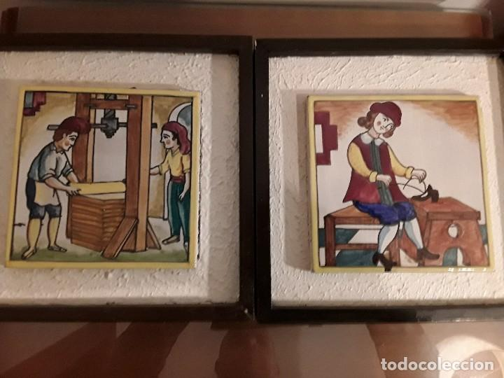 PAREJA DE AZULEJOS CATALANES OFICIOS SILICOR - BARCELONA - MADE IN SPAIN (Antigüedades - Porcelanas y Cerámicas - Azulejos)