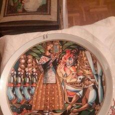 Antigüedades: ANTIGUO PLATO DE ALICANTE DE PORCELANA SANTA CLARA FIRMADO POR REMIGIO SOLER. Lote 107941948