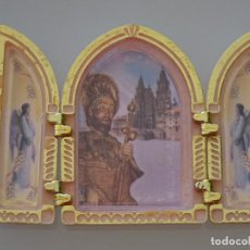 Antiguidades: ANTIGUO RETABLO DE SANTIAGO APOSTOL. 10 X 7 CM. 50 GR . Lote 107942543
