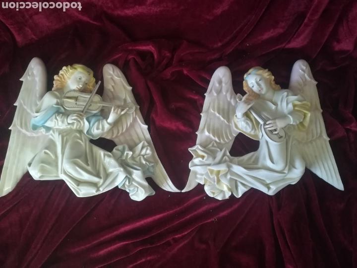 Antigüedades: Pareja ángeles músicos porcelana algora en perfecto estado - Foto 2 - 112960463