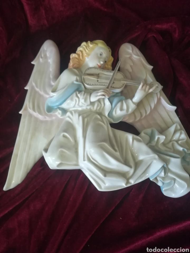 Antigüedades: Pareja ángeles músicos porcelana algora en perfecto estado - Foto 5 - 112960463