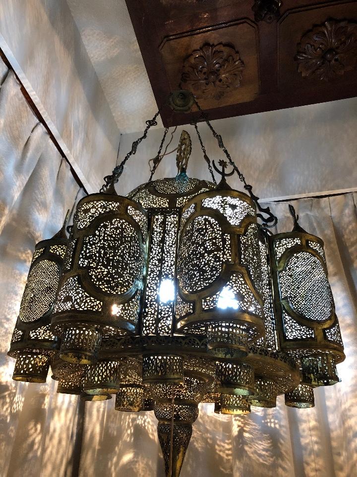 Antigüedades: Lampara Oriental 0.80*0.80 restaurada y con instalación electrica - Foto 3 - 106662435