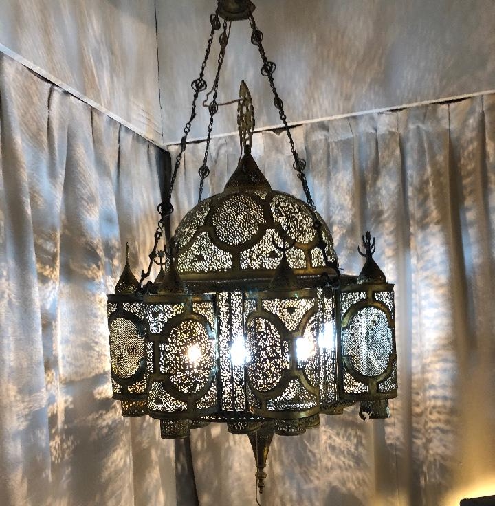 Antigüedades: Lampara Oriental 0.80*0.80 restaurada y con instalación electrica - Foto 5 - 106662435