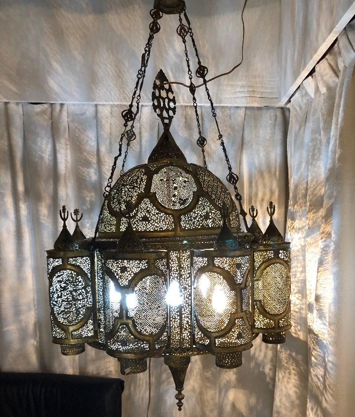 Antigüedades: Lampara Oriental 0.80*0.80 restaurada y con instalación electrica - Foto 6 - 106662435