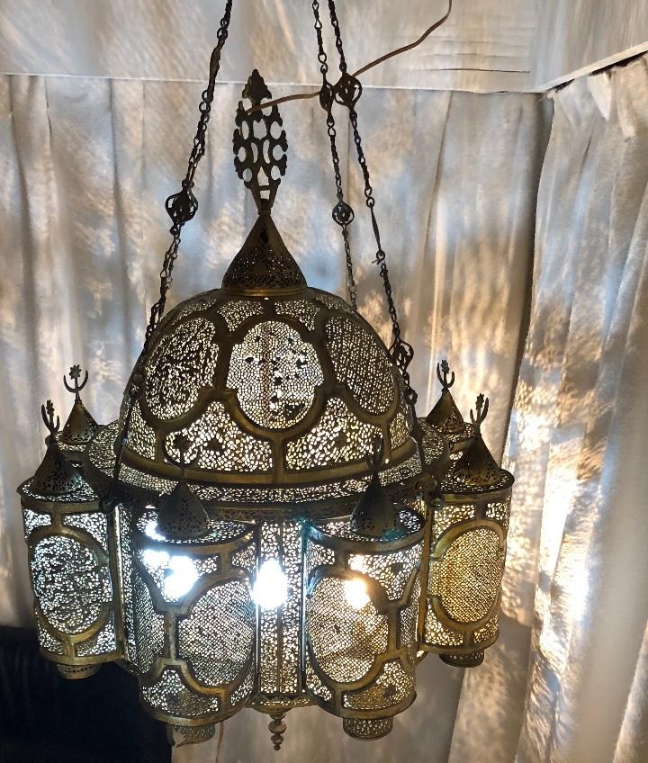 Antigüedades: Lampara Oriental 0.80*0.80 restaurada y con instalación electrica - Foto 7 - 106662435