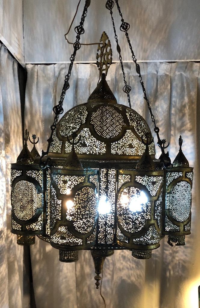Antigüedades: Lampara Oriental 0.80*0.80 restaurada y con instalación electrica - Foto 8 - 106662435