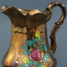 Antigüedades: JARRA PICO BRISTOL REFLEJO METALICO S XIX DECORACIÓN FLORES. Lote 108053303