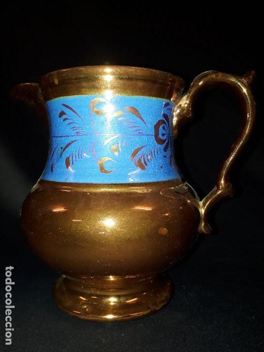JARRA. CERÁMICA DORADA. BRISTOL. 17 CM. REFLEJOS DORADOS. (Antigüedades - Porcelanas y Cerámicas - Inglesa, Bristol y Otros)