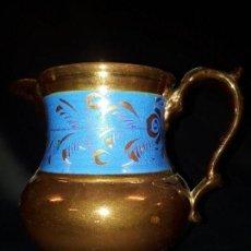 Antigüedades: JARRA. CERÁMICA DORADA. BRISTOL. 17 CM. REFLEJOS DORADOS.. Lote 112533792