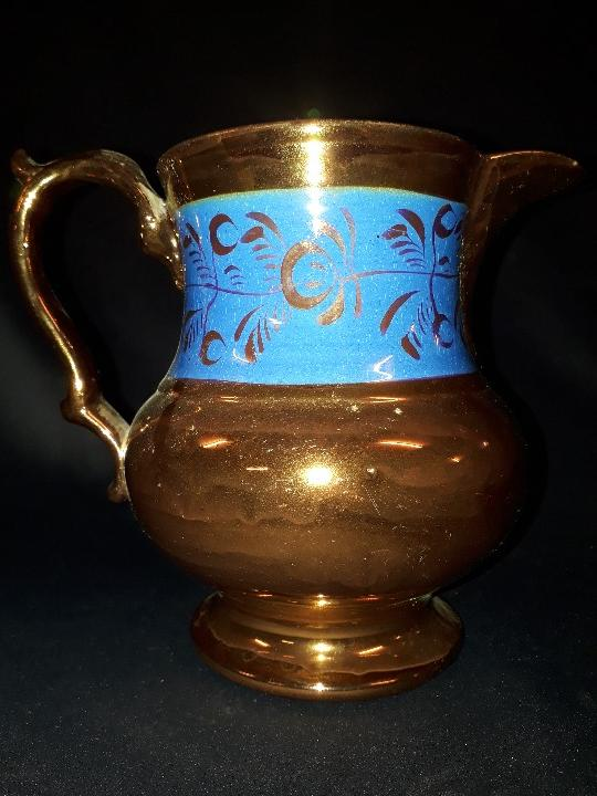 Antigüedades: JARRA. CERÁMICA DORADA. BRISTOL. 17 CM. REFLEJOS DORADOS. - Foto 3 - 112533792