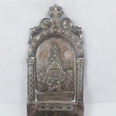 Antigüedades: ANTIGUA BENDITERA, PLATEADA DE LA VIRGEN DE MONTSERRAT, 9 X 22 CM.. Lote 108096251