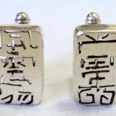 Antigüedades: ANTIGUO PAR DE GEMELOS DE PLATA CARACTERES CHINOS ESPECTACULARES CUFFLINKS CHINESE CHARACTER. Lote 108127611