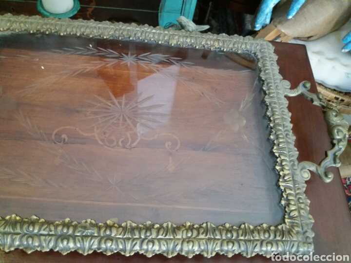 Antigüedades: BANDEJA DE BRONCE Y CRISTAL TALLADO - Foto 3 - 108234824
