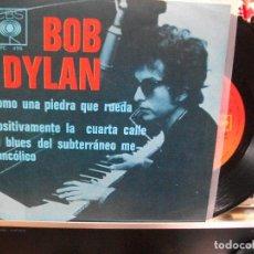 Discos de vinilo: BOB DYLAN COMO UNA PIEDRA QUE RUEDA + 2 EP MEJICO PEPETO TOP . Lote 108236835