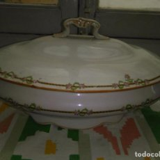 Antigüedades: CERAMICA FLORAL PORCELANA SEVILLA TIPO PICKMAN SAN JUAN CON SELLO SOPERA SALSERA ENSALADERA.... Lote 108237151