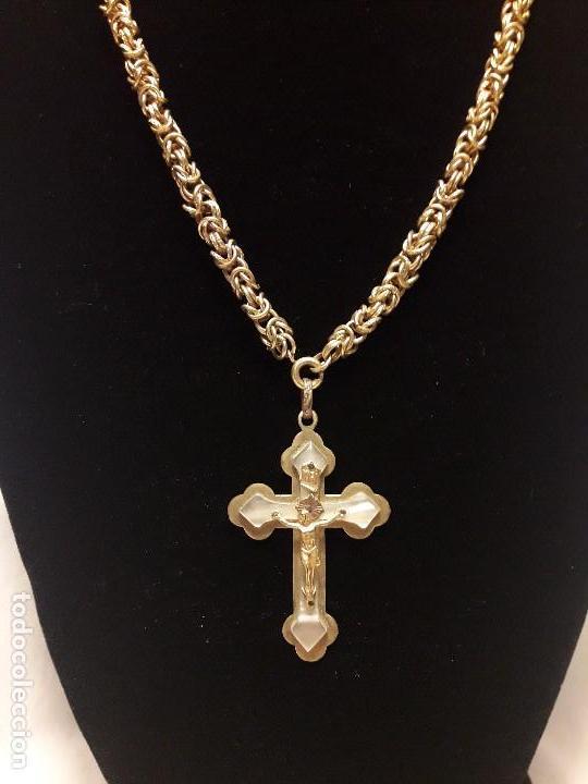 Antigüedades: Antigua cadena de punto peruano con crucifijo de nácar - Foto 3 - 108254671
