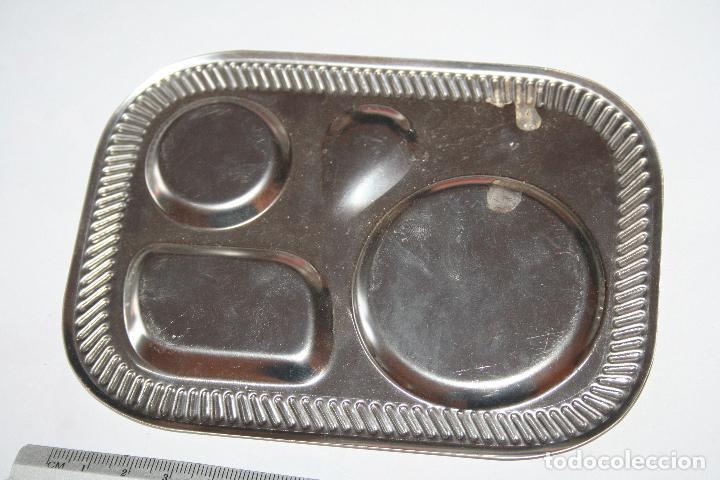 Antigüedades: BANDEJA METAL PARA SALSAS (4 compartimentos) *** DECORACION / HOGAR *** 140 x 102 mm - Foto 2 - 108255011