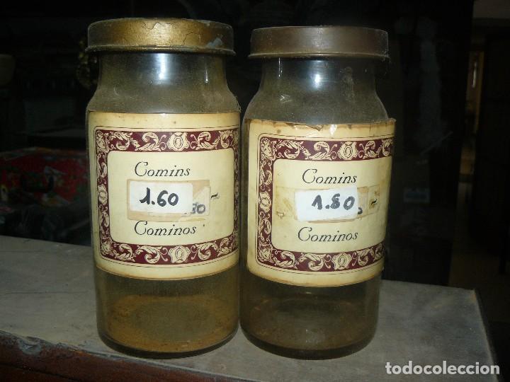 ANTIGUOS TARROS DE CRISTAL – PROVIENEN DE UN ANTIGUO HERBOLARIO DE BARCELONA – CERCA DE 100 AÑOS (Antigüedades - Cristal y Vidrio - Farmacia )