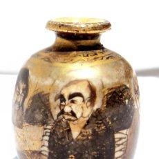 Antigüedades: ANTIGUO JARRON FLORERO MINIATURA SATSUMA JAPONES FIRMADO EN LA BASE MIDE 3,3 CM PESA 13 GRAMOS. Lote 108277443