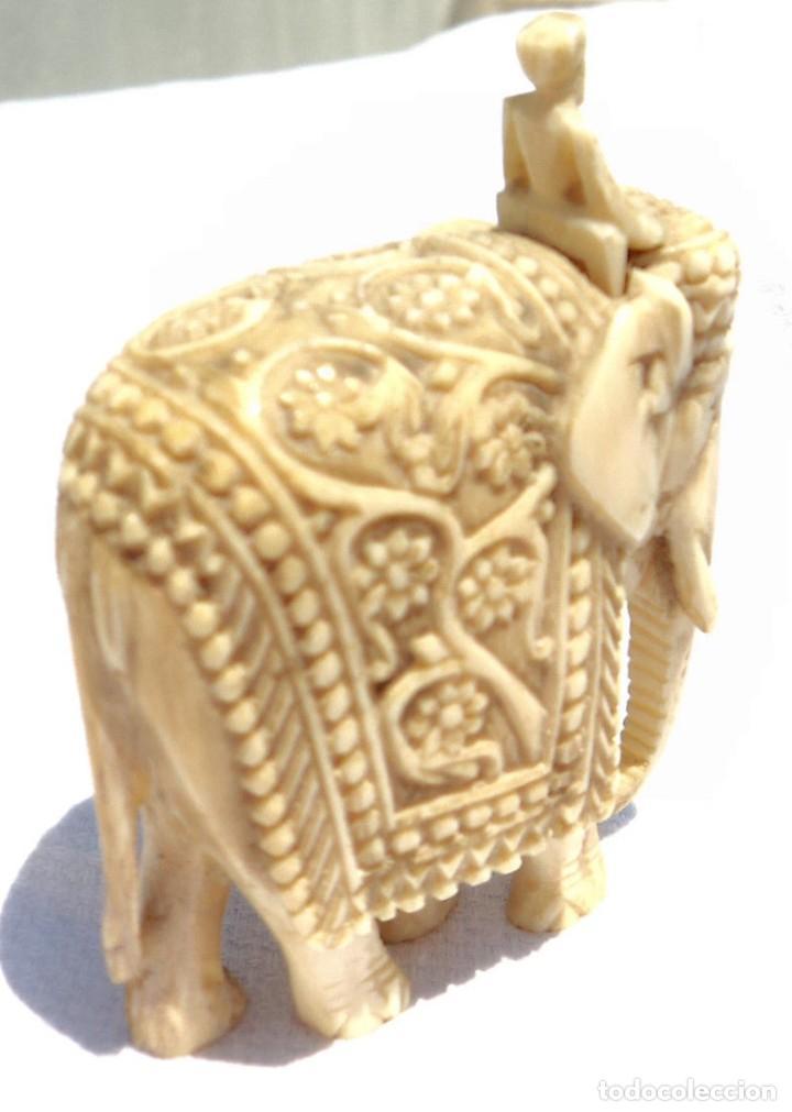 Antigüedades: ESPECTACULAR ANTIGUO ELEFANTE DE MARFIL MINIATURA Y JINETE GUIA CONDUCTOR MAHOUT CORNACA HINDU INDIO - Foto 5 - 108278295