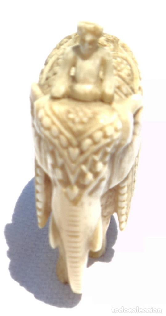 Antigüedades: ESPECTACULAR ANTIGUO ELEFANTE DE MARFIL MINIATURA Y JINETE GUIA CONDUCTOR MAHOUT CORNACA HINDU INDIO - Foto 6 - 108278295