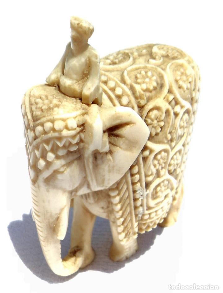 Antigüedades: ESPECTACULAR ANTIGUO ELEFANTE DE MARFIL MINIATURA Y JINETE GUIA CONDUCTOR MAHOUT CORNACA HINDU INDIO - Foto 7 - 108278295