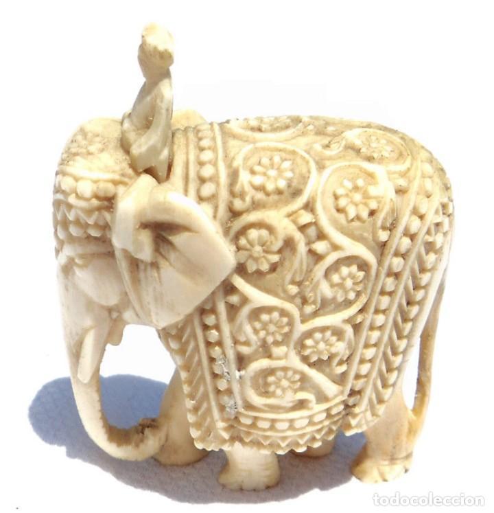 Antigüedades: ESPECTACULAR ANTIGUO ELEFANTE DE MARFIL MINIATURA Y JINETE GUIA CONDUCTOR MAHOUT CORNACA HINDU INDIO - Foto 8 - 108278295