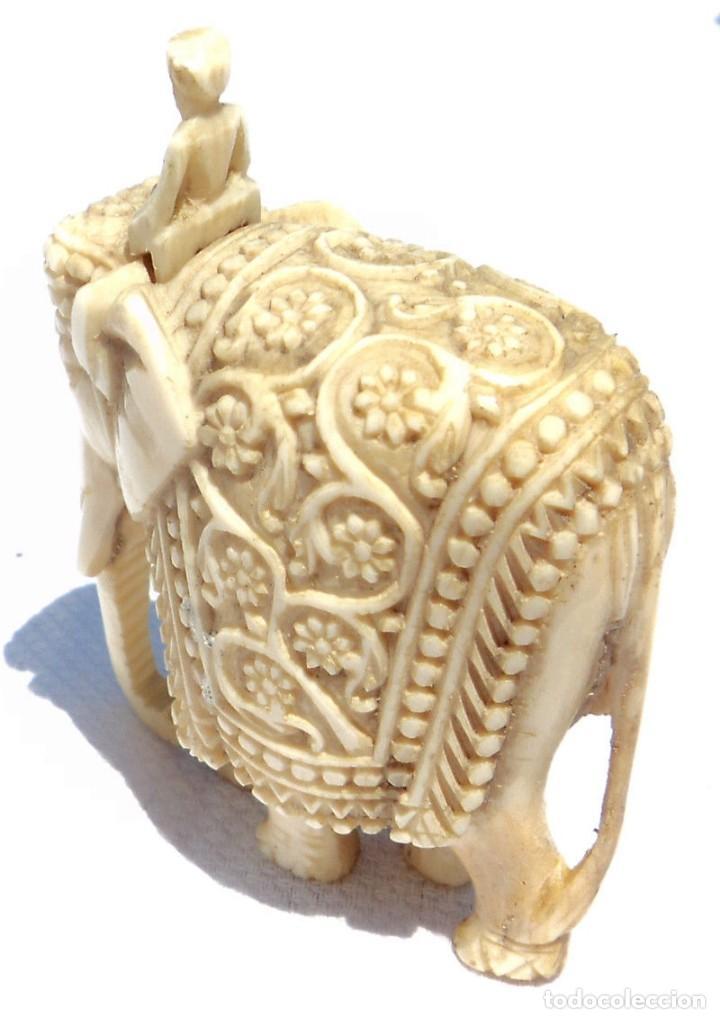 Antigüedades: ESPECTACULAR ANTIGUO ELEFANTE DE MARFIL MINIATURA Y JINETE GUIA CONDUCTOR MAHOUT CORNACA HINDU INDIO - Foto 9 - 108278295