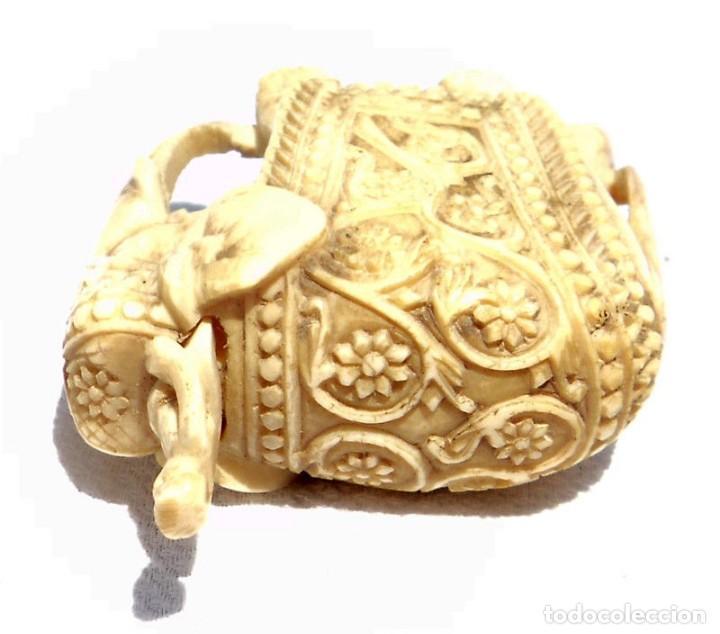 Antigüedades: ESPECTACULAR ANTIGUO ELEFANTE DE MARFIL MINIATURA Y JINETE GUIA CONDUCTOR MAHOUT CORNACA HINDU INDIO - Foto 11 - 108278295