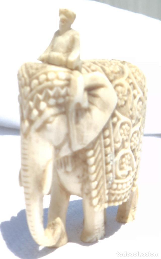 Antigüedades: ESPECTACULAR ANTIGUO ELEFANTE DE MARFIL MINIATURA Y JINETE GUIA CONDUCTOR MAHOUT CORNACA HINDU INDIO - Foto 12 - 108278295