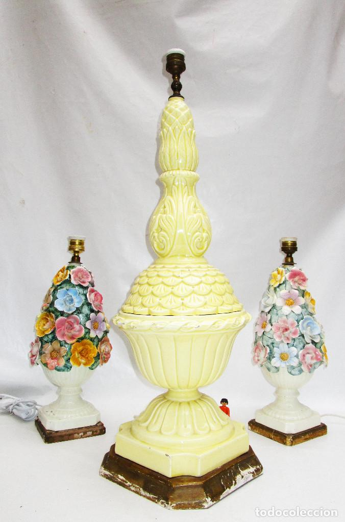 Antigüedades: ENORME LAMPARA ANTIGUA VINTAGE CERAMICA POP MANISES 80CM - Foto 3 - 108402271