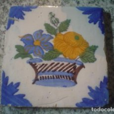 Antigüedades: PRECIOSO AZULEJO PINTADO A MANO XVIII. Lote 108409727