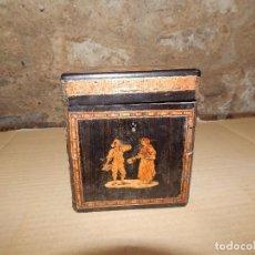 Antigüedades: ANTIGUO JOYERO FRANCÉS CON ESCENAS COSTUMBRISTAS EN MARQUETERÍA . Lote 108417499