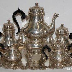 Antigüedades: PRECIOSO JUEGO DE CAFÉ REALIZADO EN PLATA DE LEY DEL ORFEBRE MUÑOZ. CIRCA 1940. 6.700 KILOGRAMOS. Lote 108427075