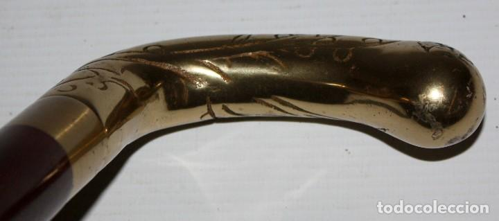 Antigüedades: BASTON EN METAL DORADO DE MEDIADOS DEL SIGLO XX - Foto 5 - 108434467