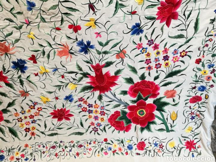 Antigüedades: Maravilloso mantón antiguo de tulipanes - Foto 4 - 108458422