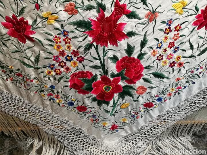 Antigüedades: Maravilloso mantón antiguo de tulipanes - Foto 6 - 108458422