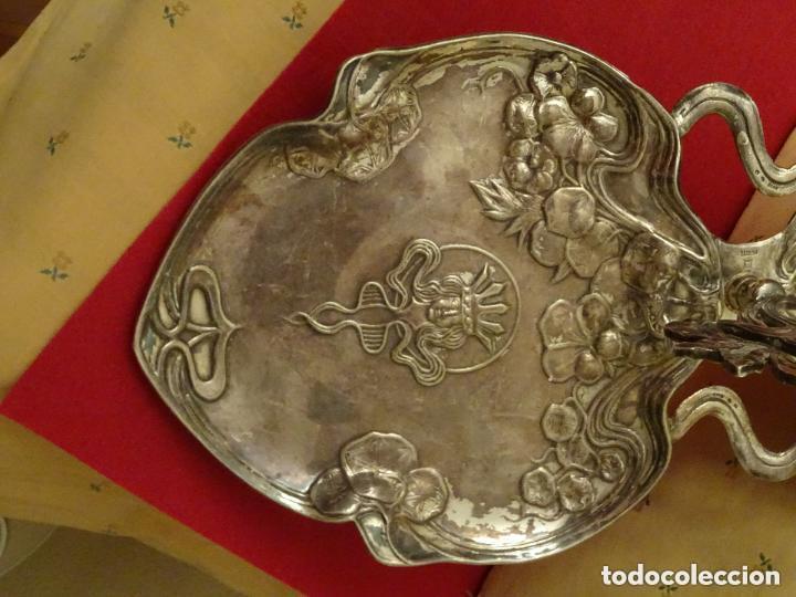 Antigüedades: .Bandeja 50 cmts, art nouveau , plata Meneses contrastes, numerada,modernista - Foto 3 - 108685203