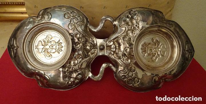 Antigüedades: .Bandeja 50 cmts, art nouveau , plata Meneses contrastes, numerada,modernista - Foto 7 - 108685203