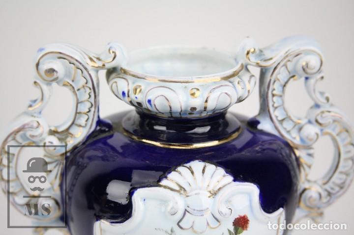 Antigüedades: Jarrón Porcelana Vidriada Botet Mas - Decoración Pintada a Mano - Azul Cobalto - Primera Mitad S. XX - Foto 2 - 108708387